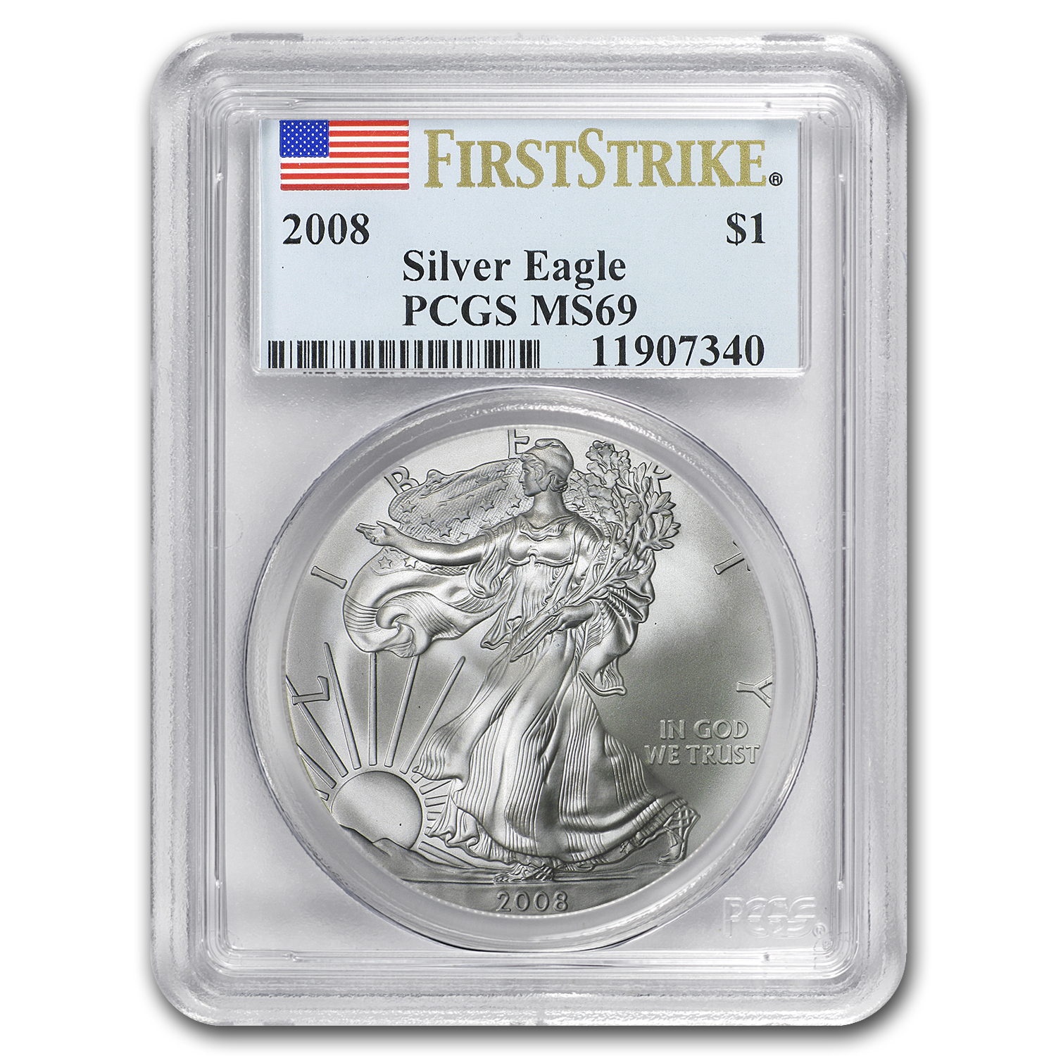 2008 Silver American Eagle MS-69 PCGS (First Strike)