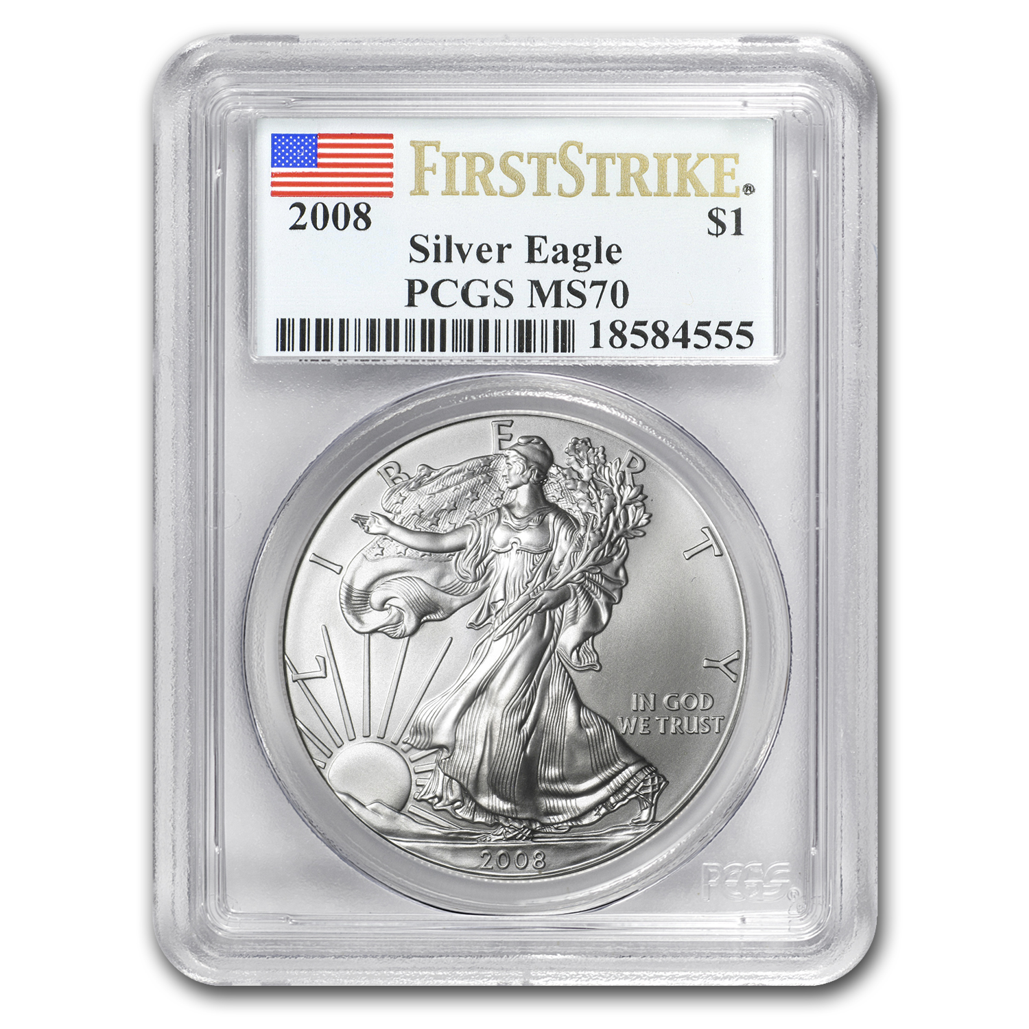 2008 Silver American Eagle MS-70 PCGS (First Strike)