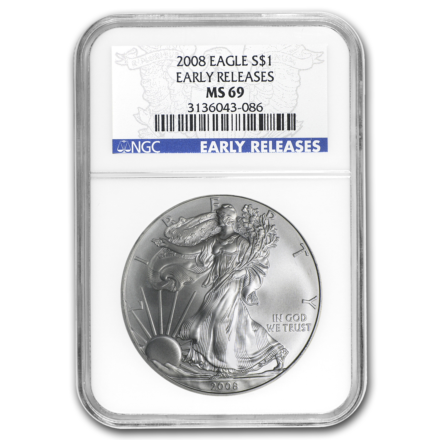 2008 Silver American Eagle MS-69 NGC (ER, Blue Label)