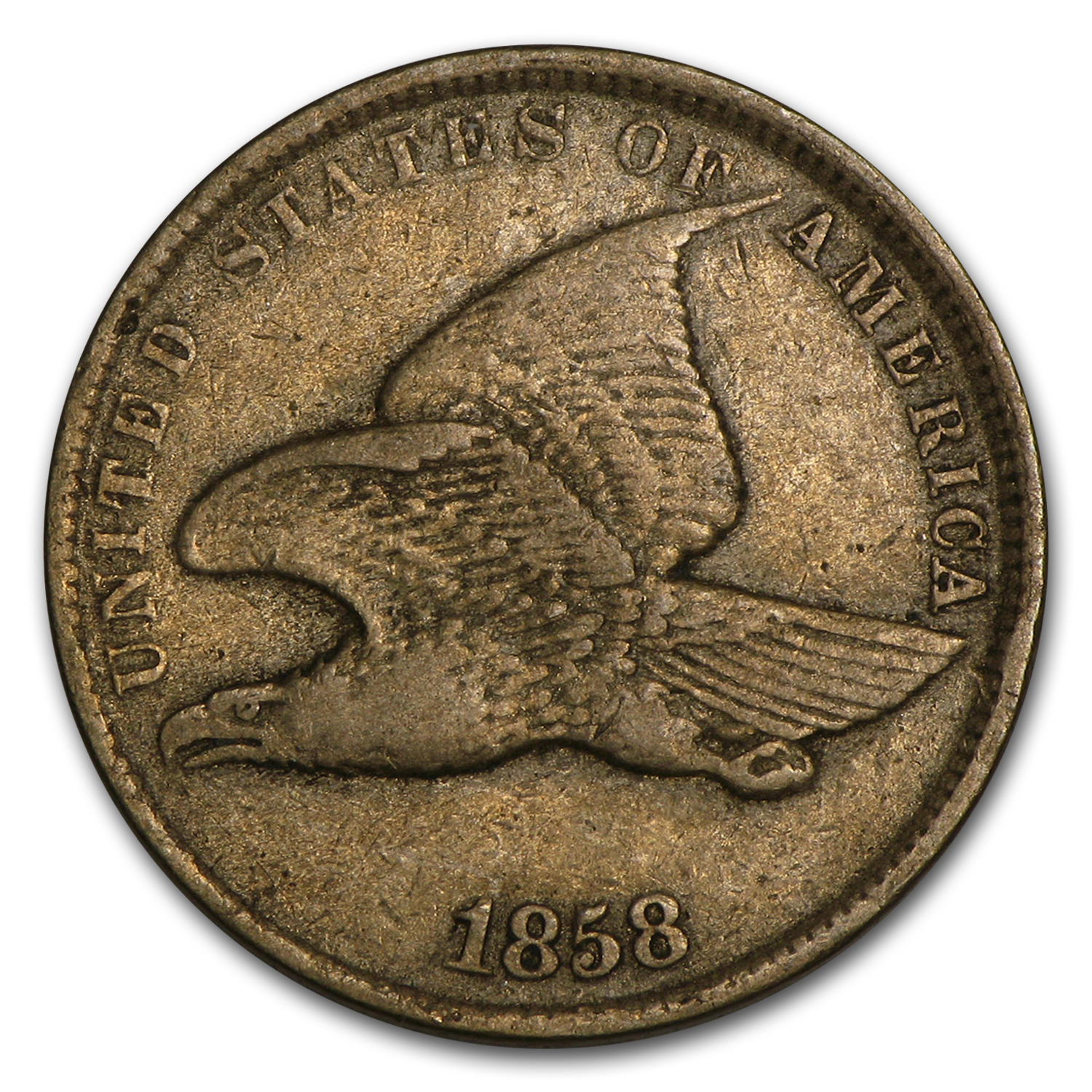 1858 Flying Eagle Cent Small Letters Vf Flying Eagle