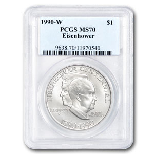 1990-W Eisenhower Centennial $1 Silver Commemorative - MS-70 PCGS