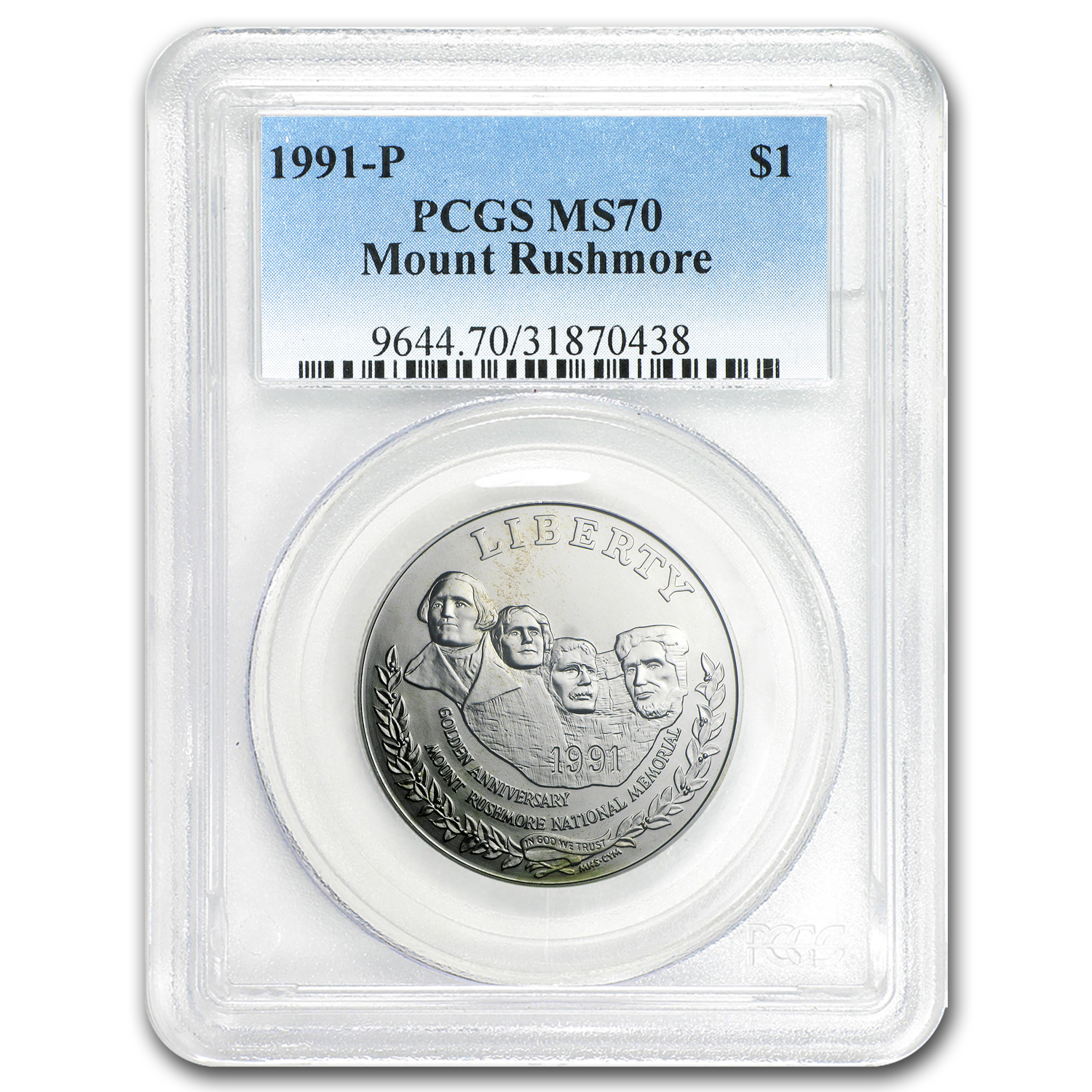1991-P Mount Rushmore $1 Silver Commem MS-70 PCGS