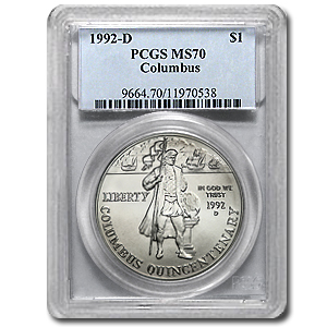1992-D Columbus Quincentenary $1 Silver Commem MS-70 PCGS