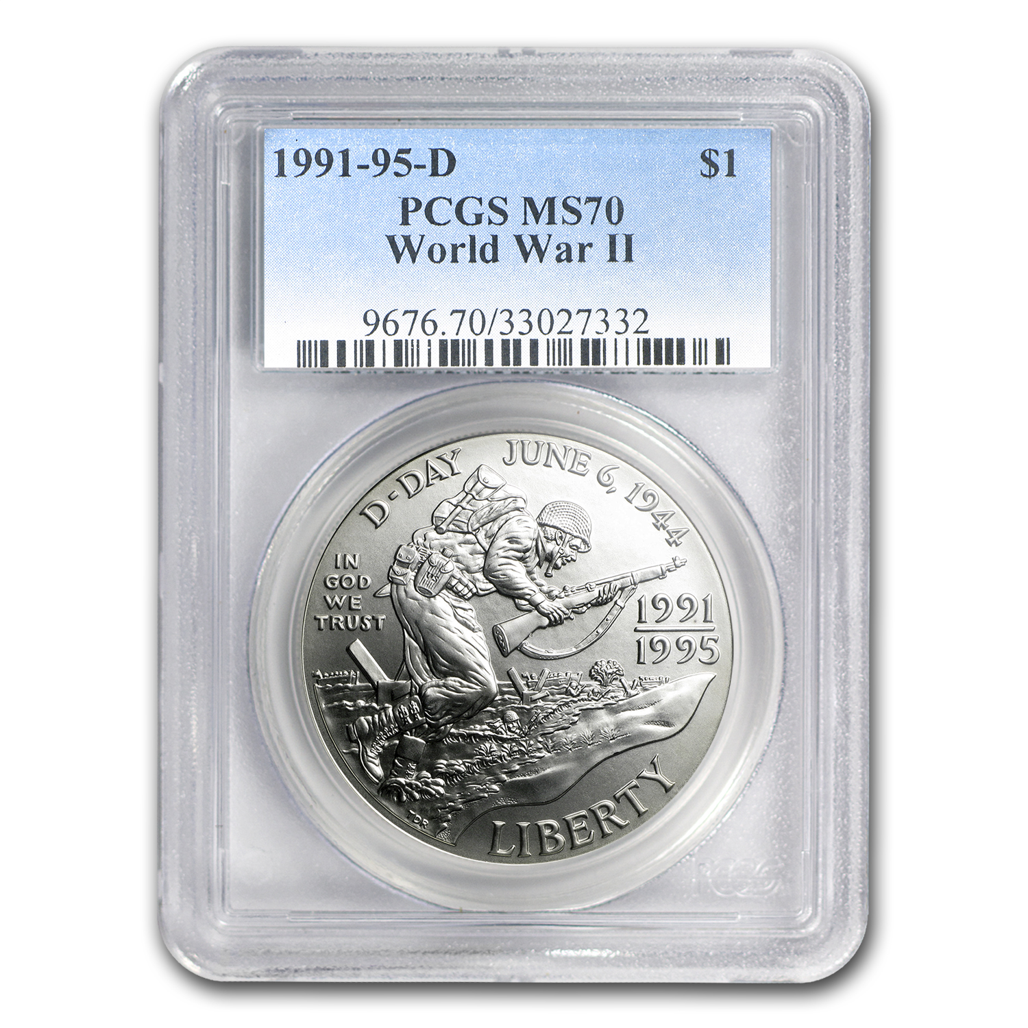 1991-1995-D World War II $1 Silver Commem MS-70 PCGS