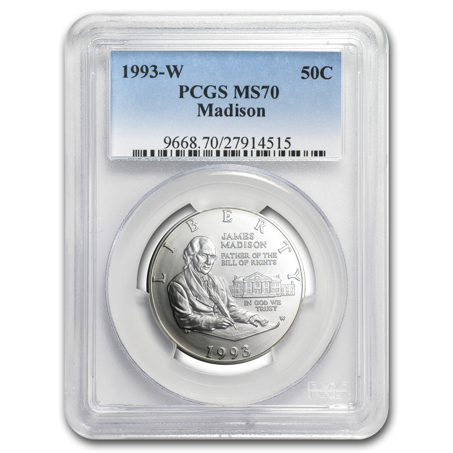 1993-W Bill of Rights 1/2 Dollar Silver Commem MS-70 PCGS