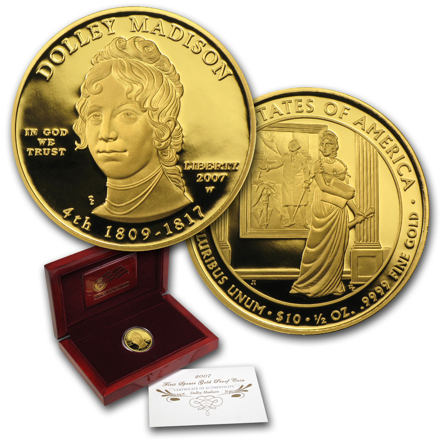 2007-W 1/2 oz Proof Gold Dolley Madison (w/Box & COA)