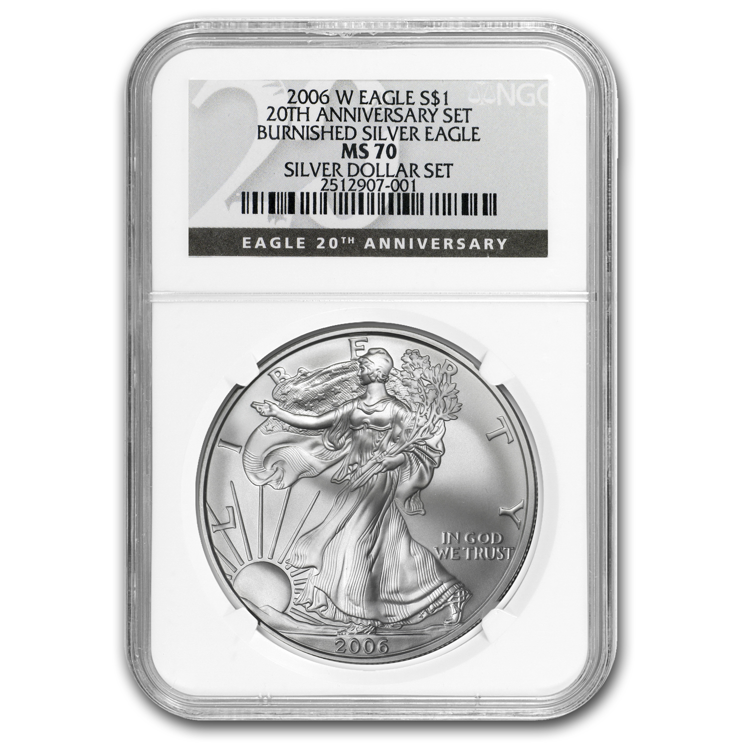 2006-W Burnished Silver American Eagle MS-70 NGC (Black Label)