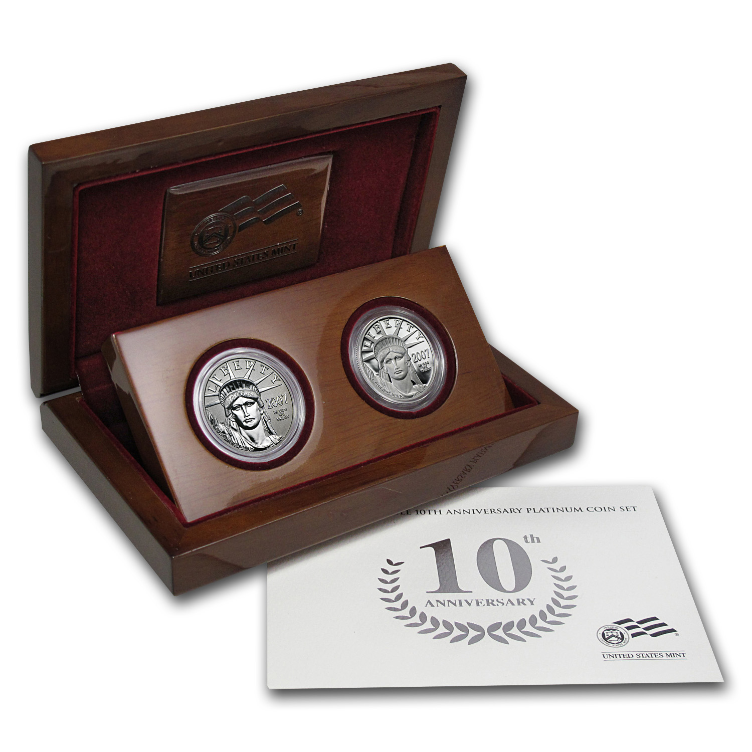 2007-W 2-Coin Proof Platinum Eagle Set (10th Anniv, Box & COA)