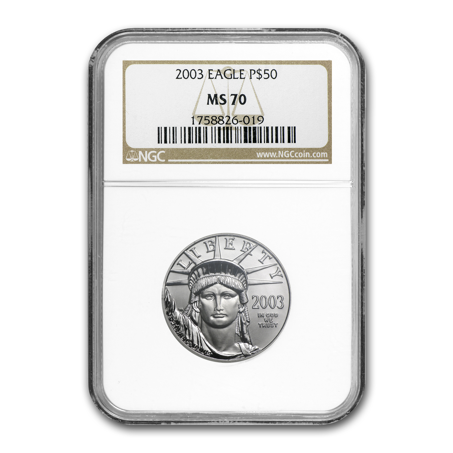 2003 1/2 oz Platinum American Eagle MS-70 NGC