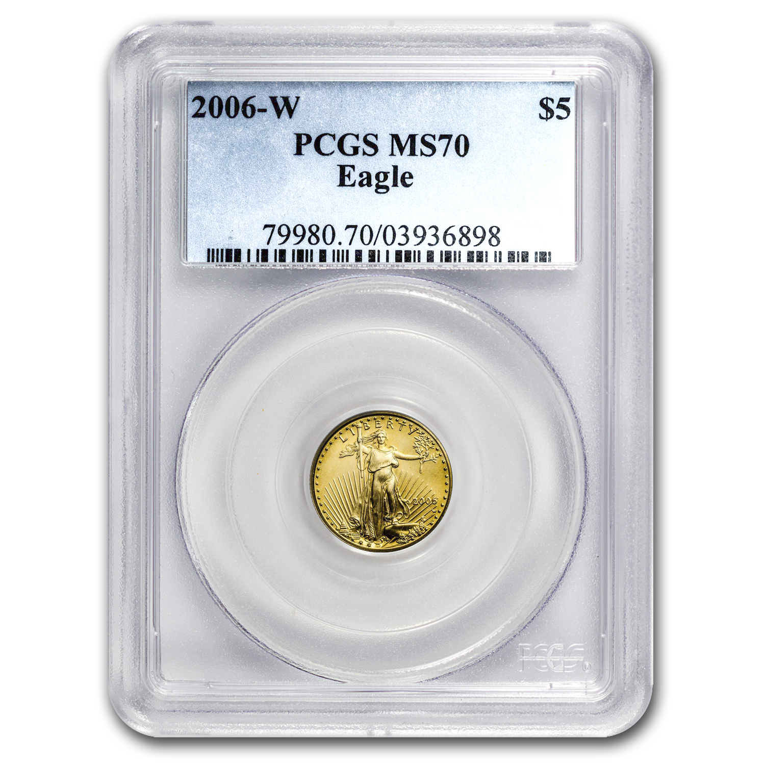 2006-W 1/10 oz Burnished Gold American Eagle MS-70 PCGS