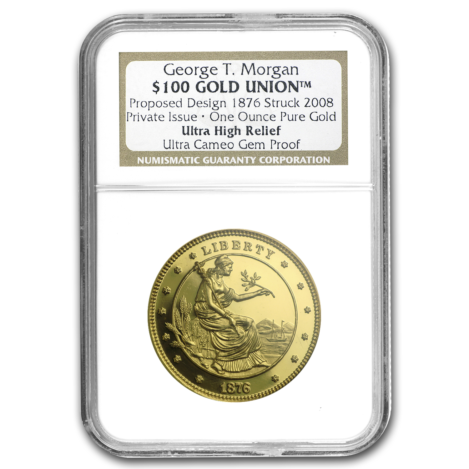 1 oz Gold Rnds - $100 Gold Union George T. Morgan (NGC, PF-UCAM)