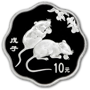 2008 Year of the Rat - 1 oz Silver - Flower Coin (w/Box & CoA)