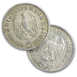 1935-1936 Germany Silver 5 Reichsmarks Avg Circ