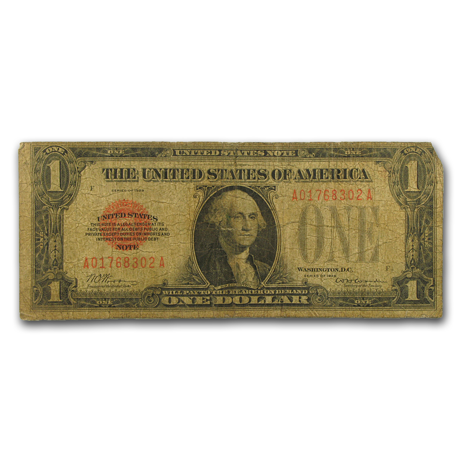 1928 $1.00 U.S. Note Legal Tender Good