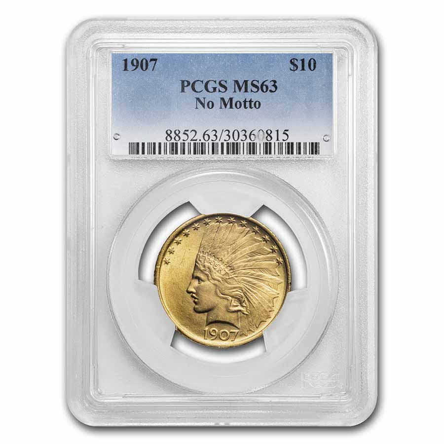 1907 $10 Indian Gold Eagle No Motto MS-63 PCGS