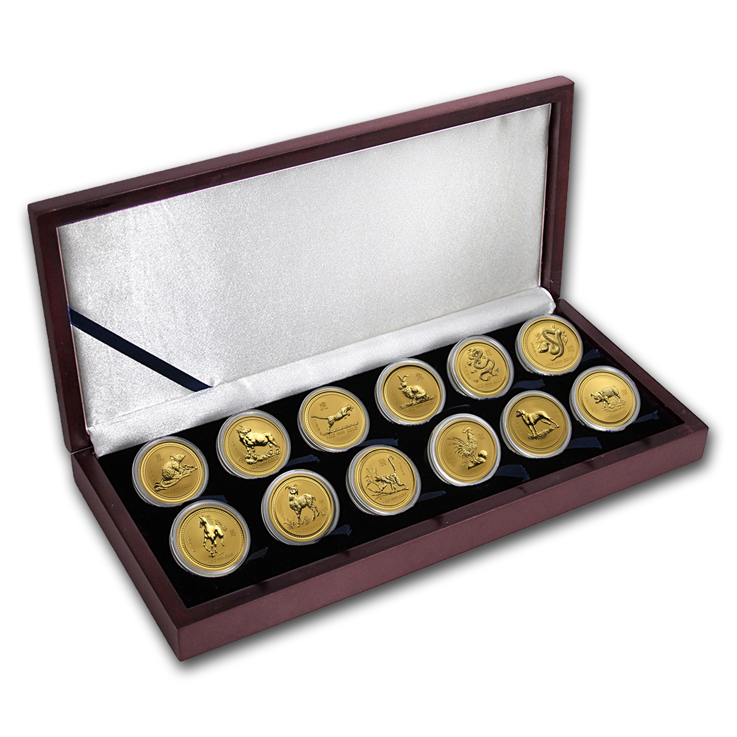 12-Coin 1 oz Gold Australian Lunar Set (Series I - 1996-2007)