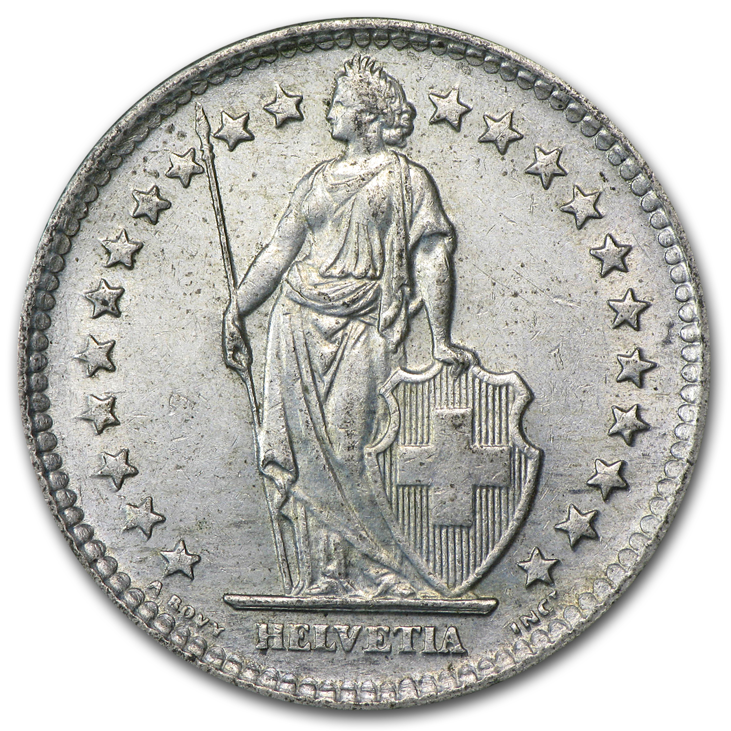 1901-1967 Switzerland Silver 2 Francs Avg Circ (ASW .2685)