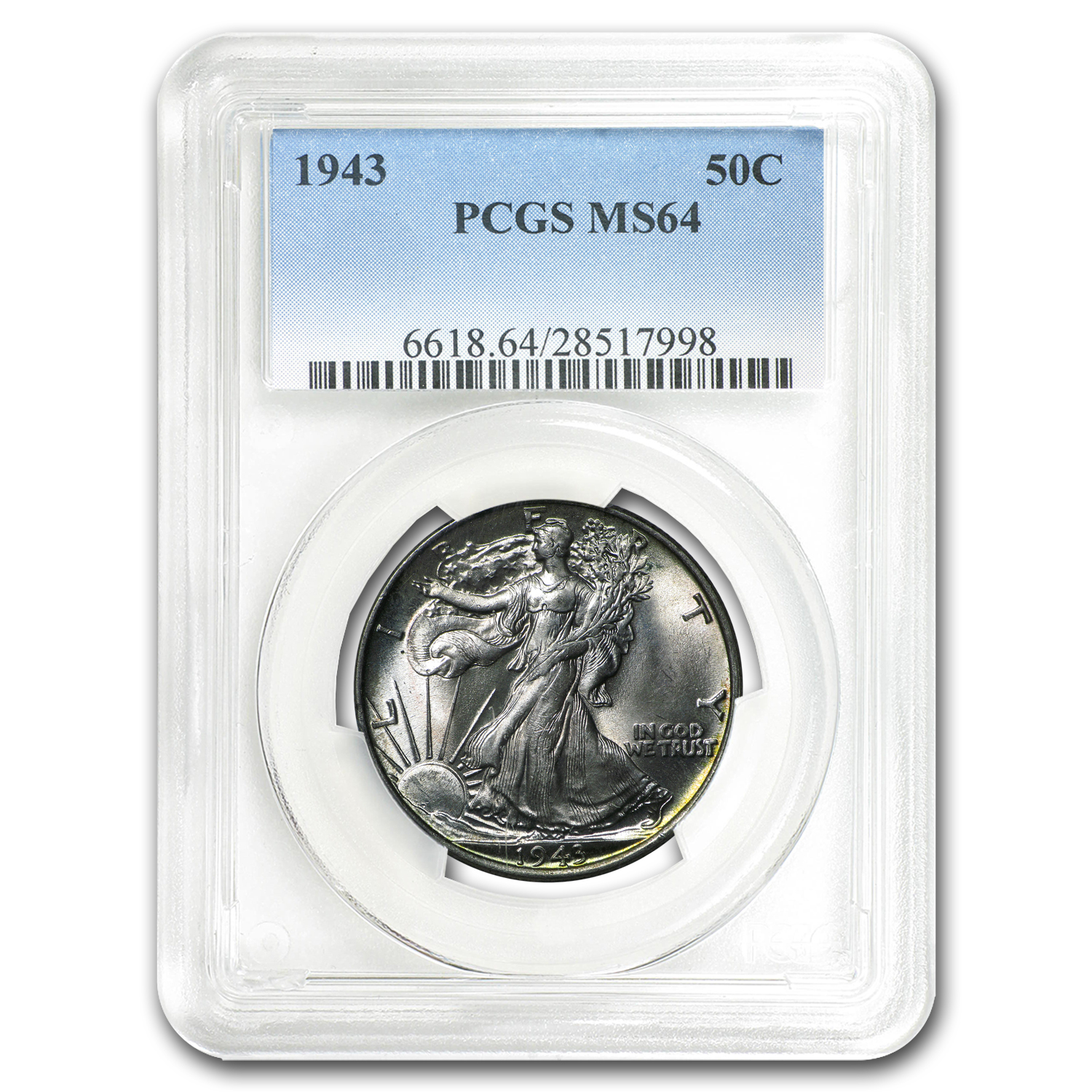 1943 Walking Liberty Half Dollar MS-64 PCGS
