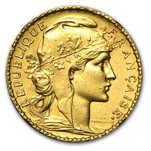 1899-1914 France Gold 20 Francs Rooster (Scruffy)