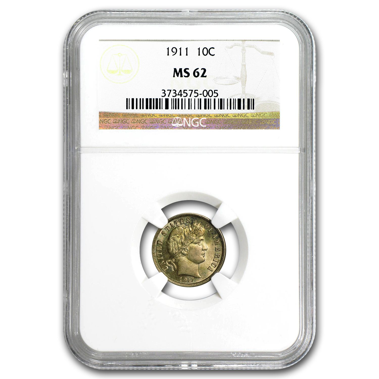 1911 Barber Dime MS-62 NGC