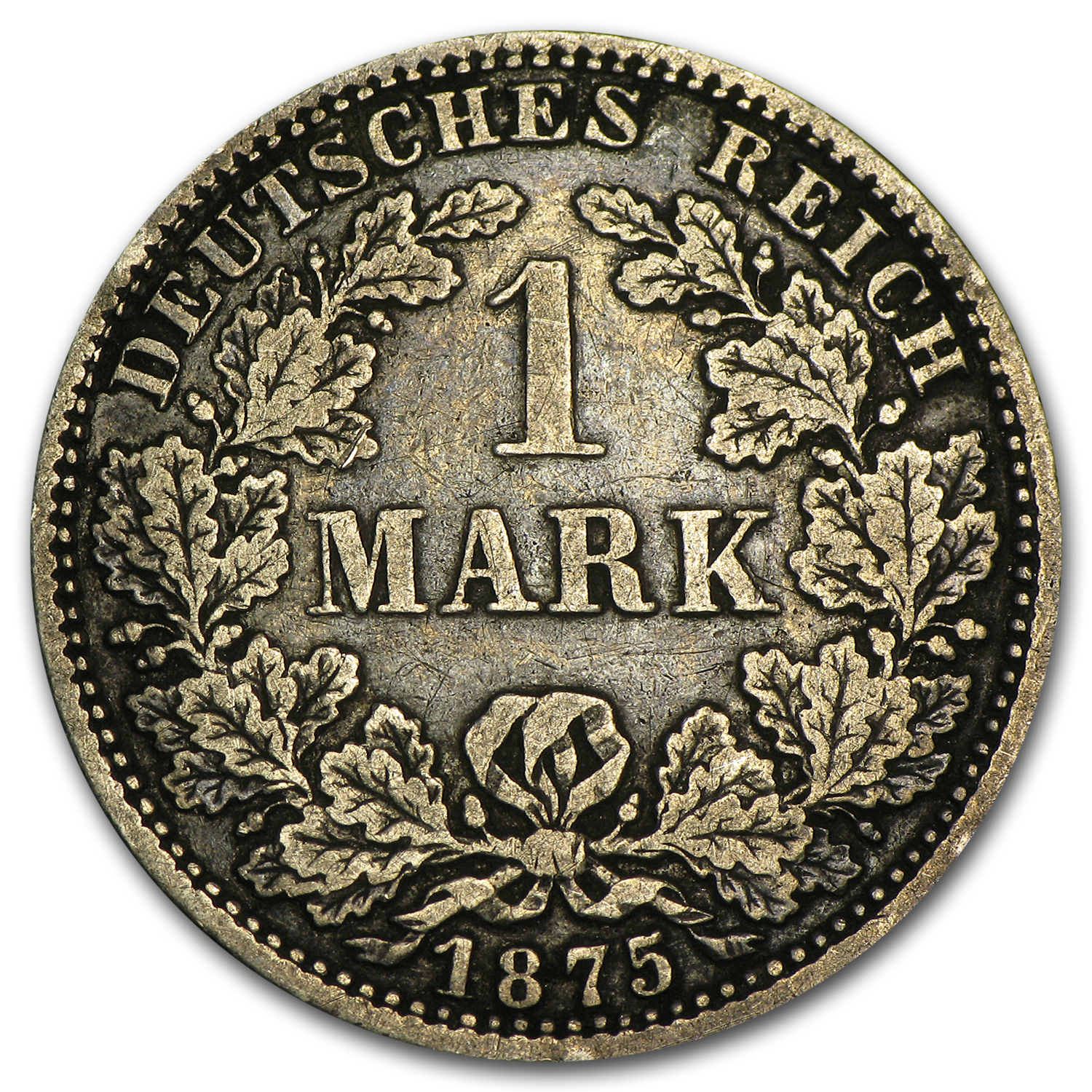 Germany 1875-A 1 Mark Silver VF/EF