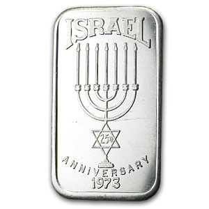 1 oz Silver Bar - Israel (Monorah, 25th Anniversary)