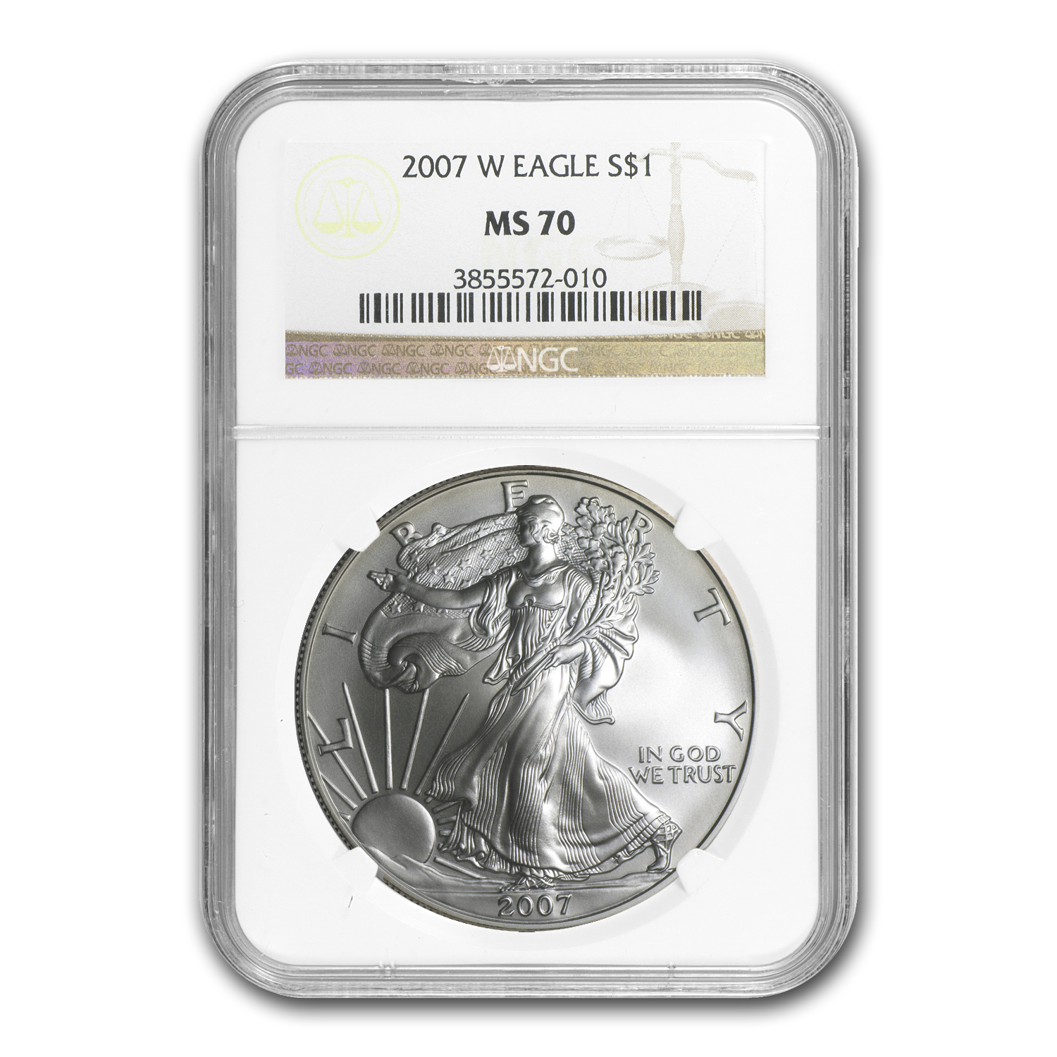 2007-W (Burnished) Silver American Eagle MS-70 NGC