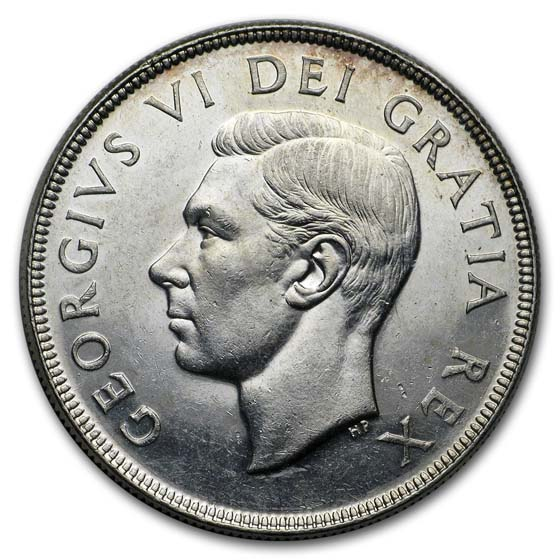 Canada 1951 Dollar Silver Almost Uncirculated