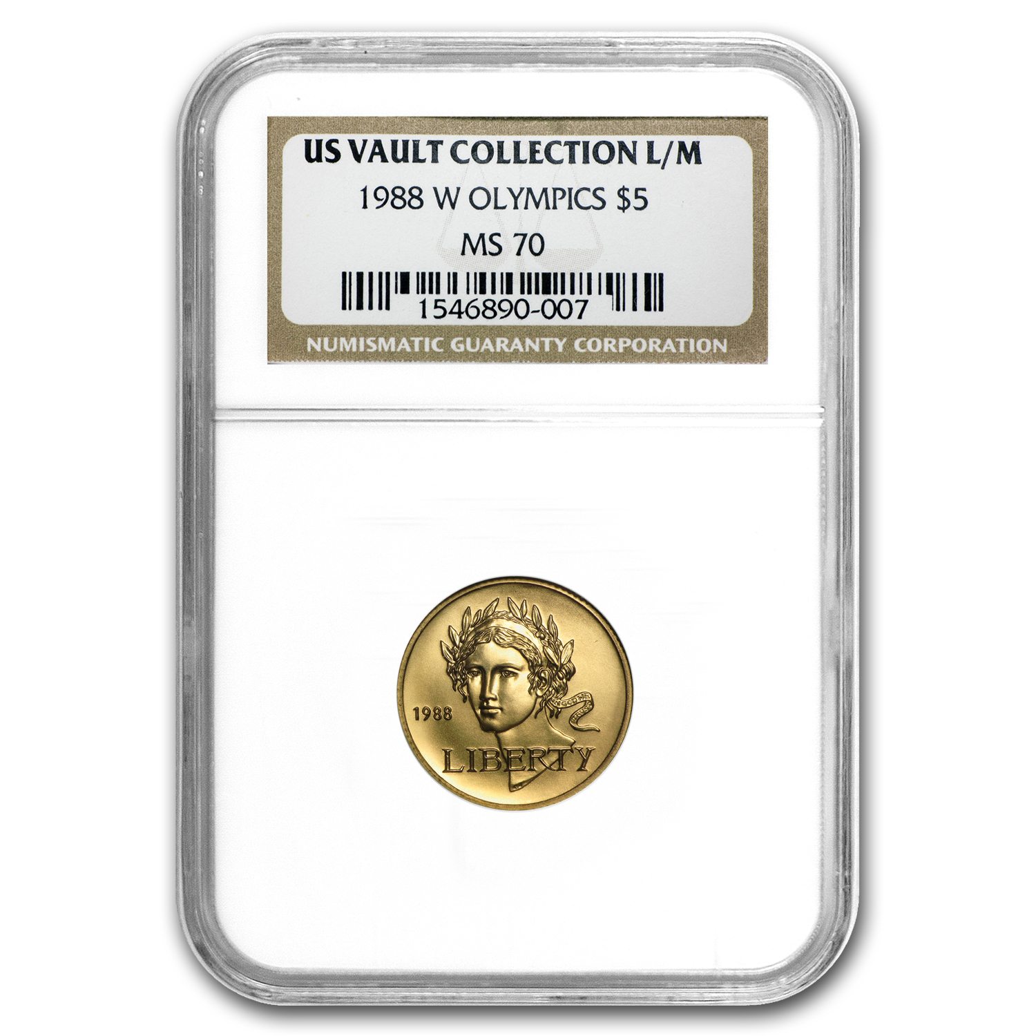 1988-W Gold $5 Commem Olympic MS-70 NGC