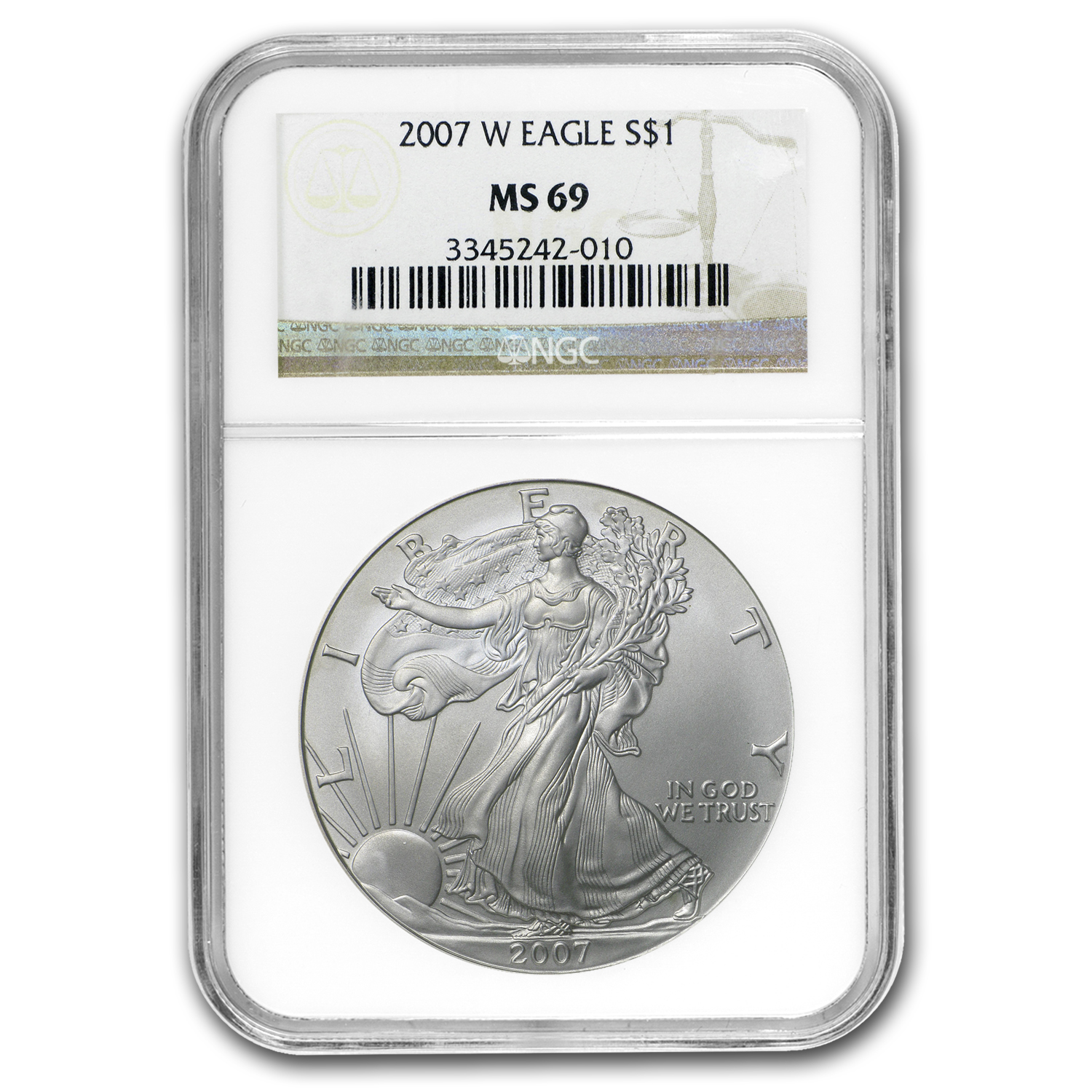 2007-W Burnished Silver American Eagle MS-69 NGC