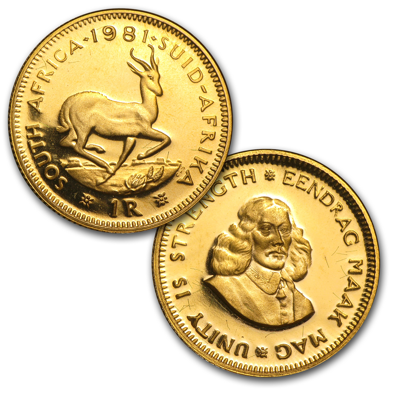 1981 South Africa 2-Coin Gold Proof Set (1 Rand & 2 Rand)