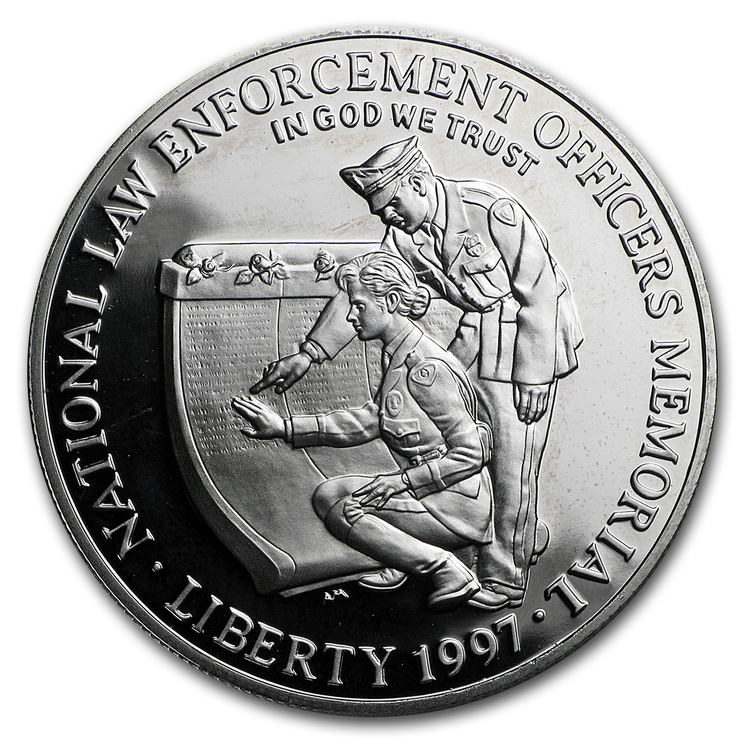 1997-P Law Enforcement $1 Silver Commem - Proof (w/ Patch & Pin)