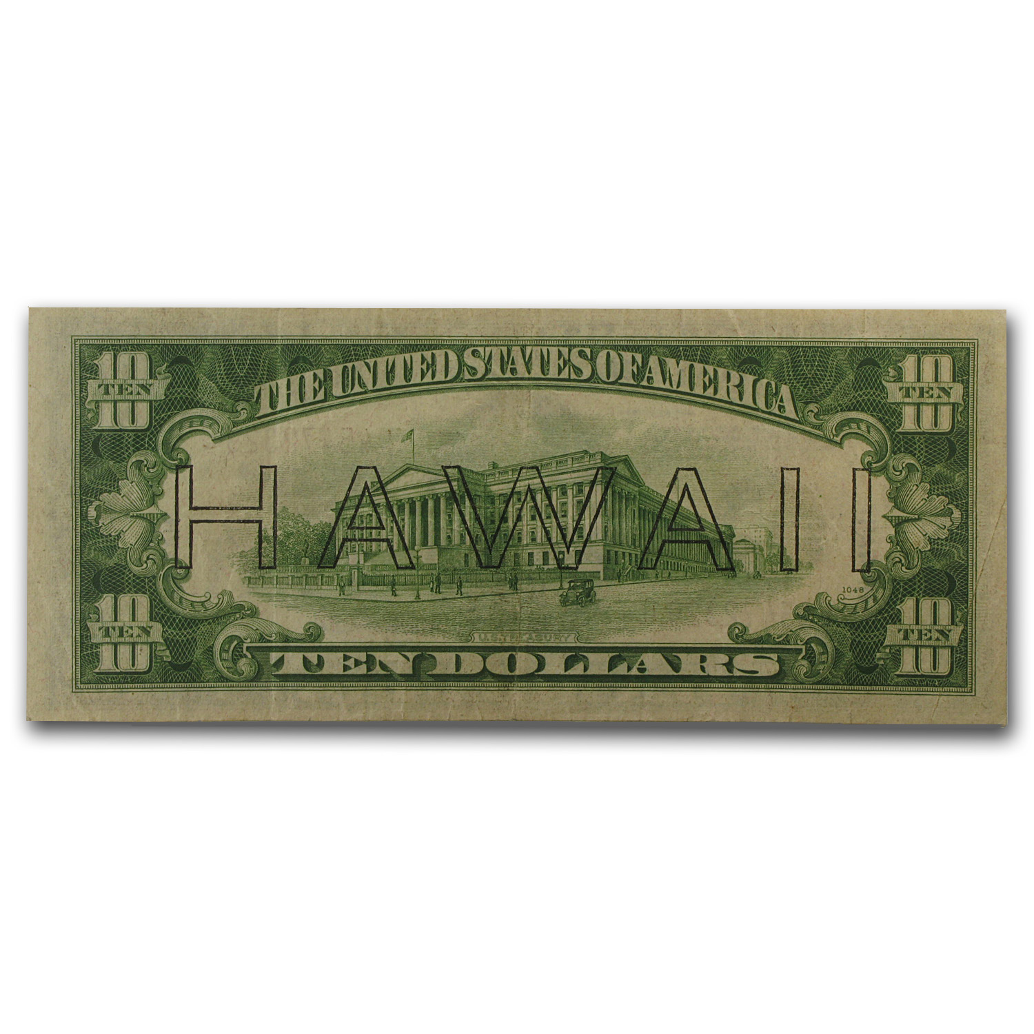 1934-A $10 Brown Seal Hawaii VF