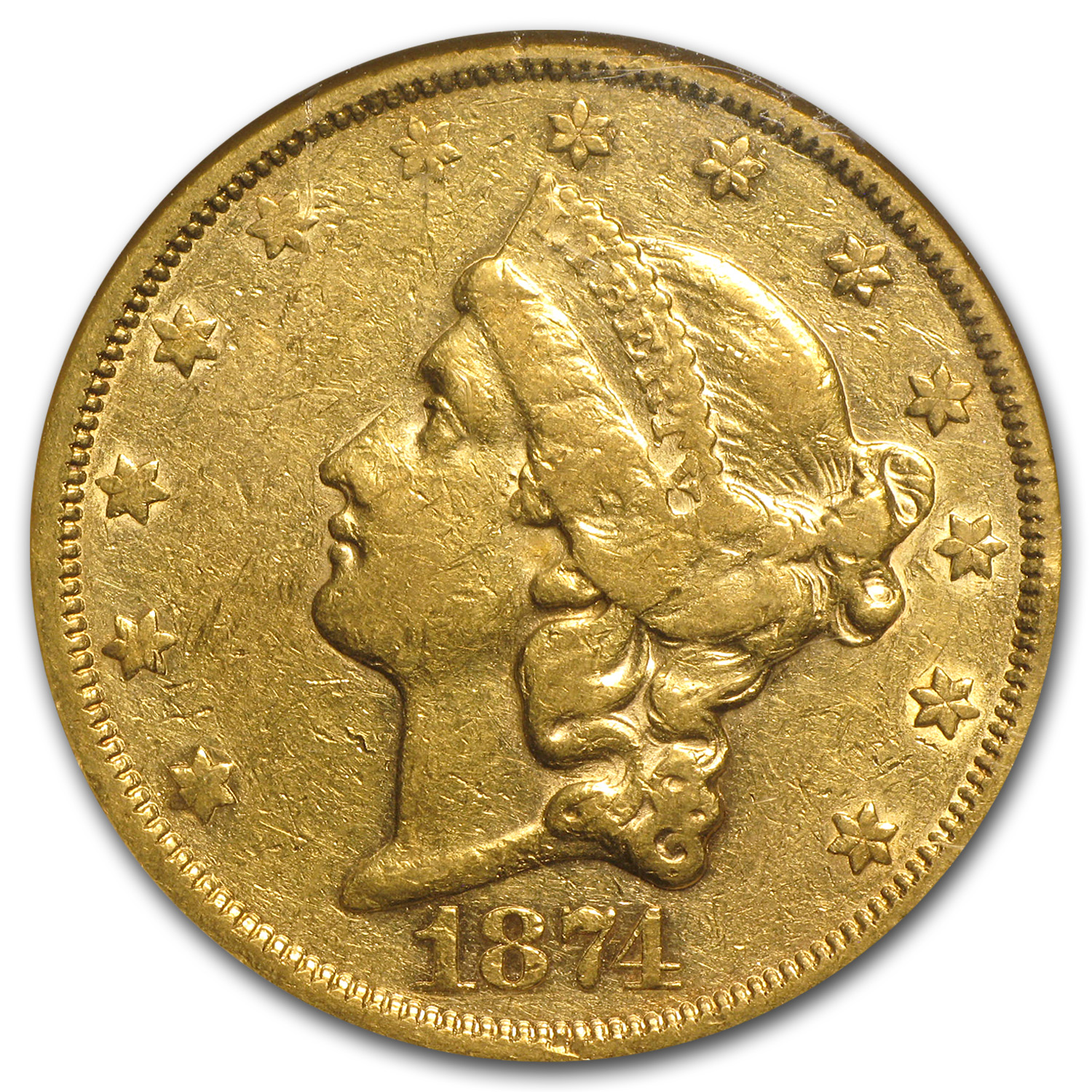 1874-S $20 Gold Liberty Double Eagle - AU-50 NGC