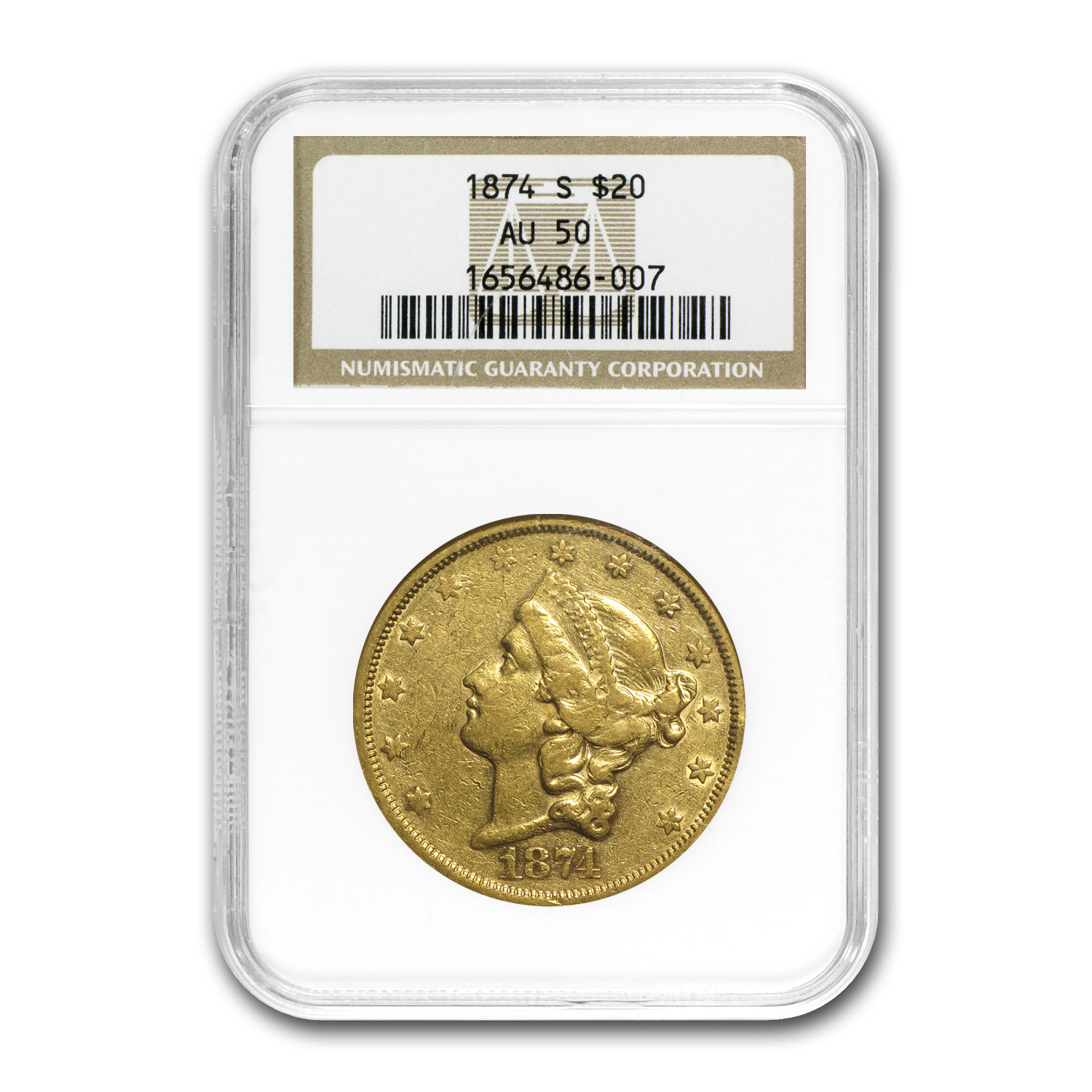 1874-S $20 Liberty Gold Double Eagle AU-50 NGC