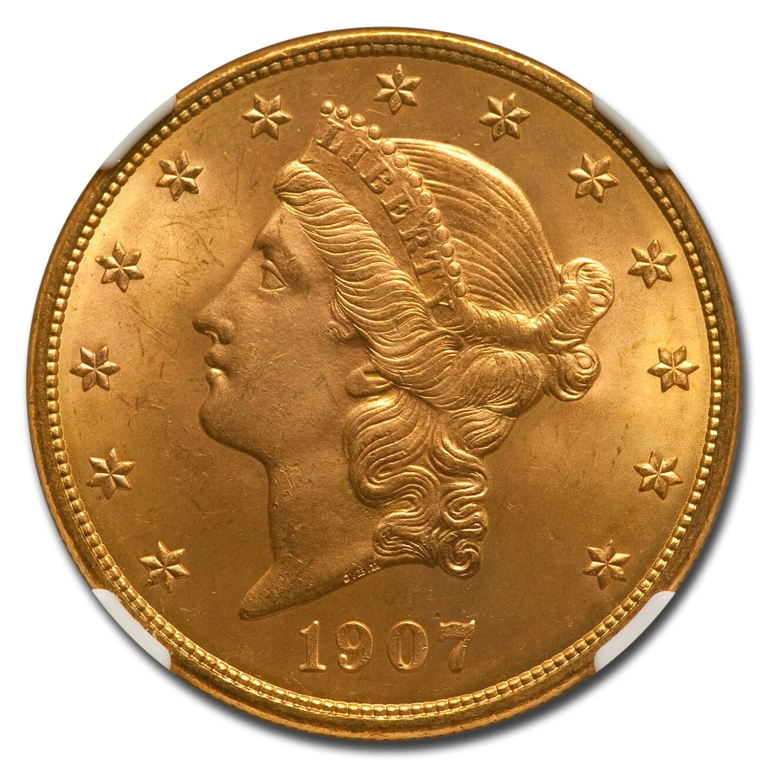 1907-D $20 Liberty Gold Double Eagle MS-64 NGC