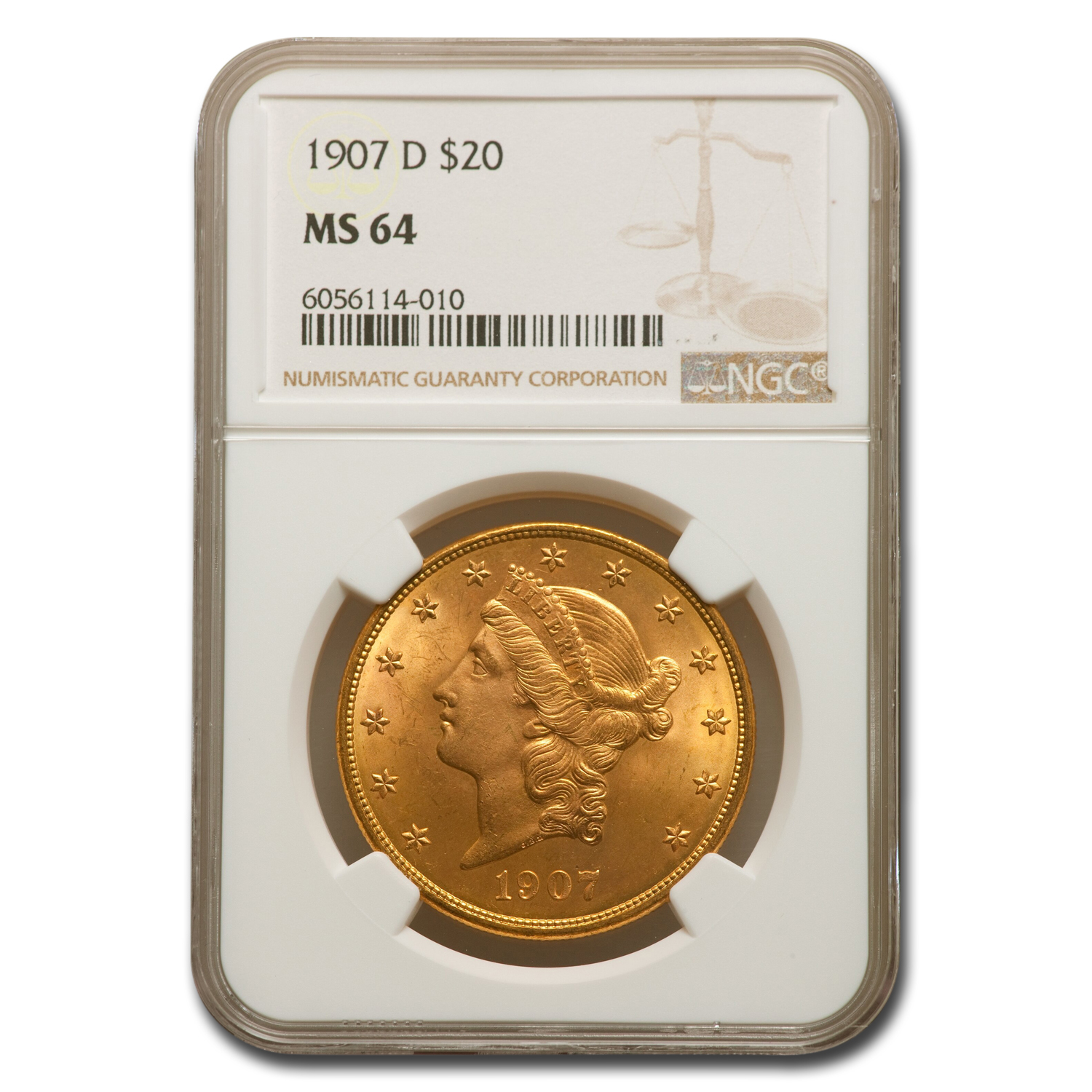 1907-D $20 Gold Liberty Double Eagle - MS-64 NGC