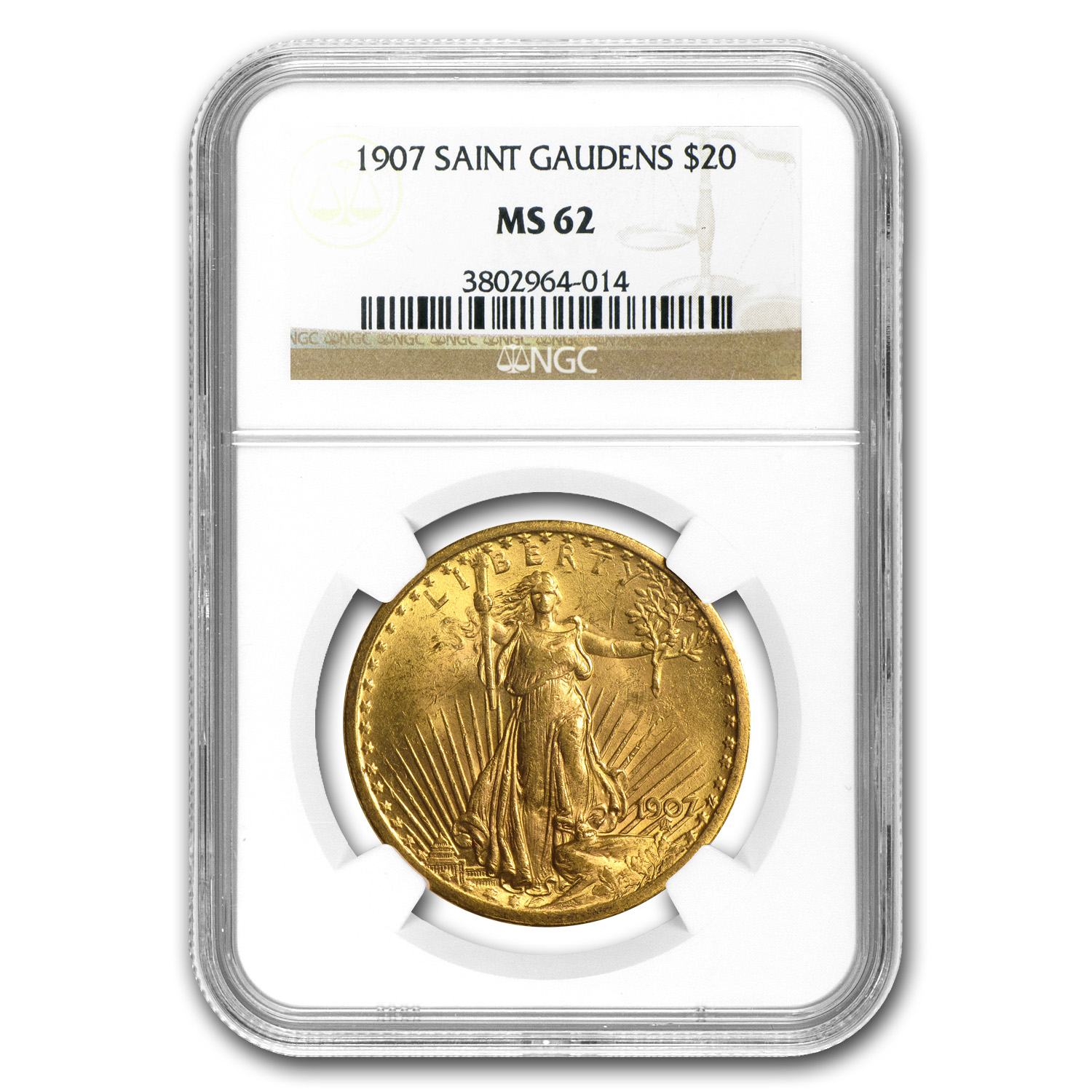 1907 $20 St. Gaudens Gold Double Eagle MS-62 NGC