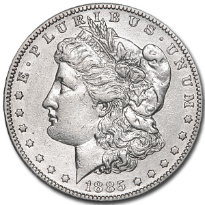 1885-S Morgan Dollar AU-58 Details (Cleaned)