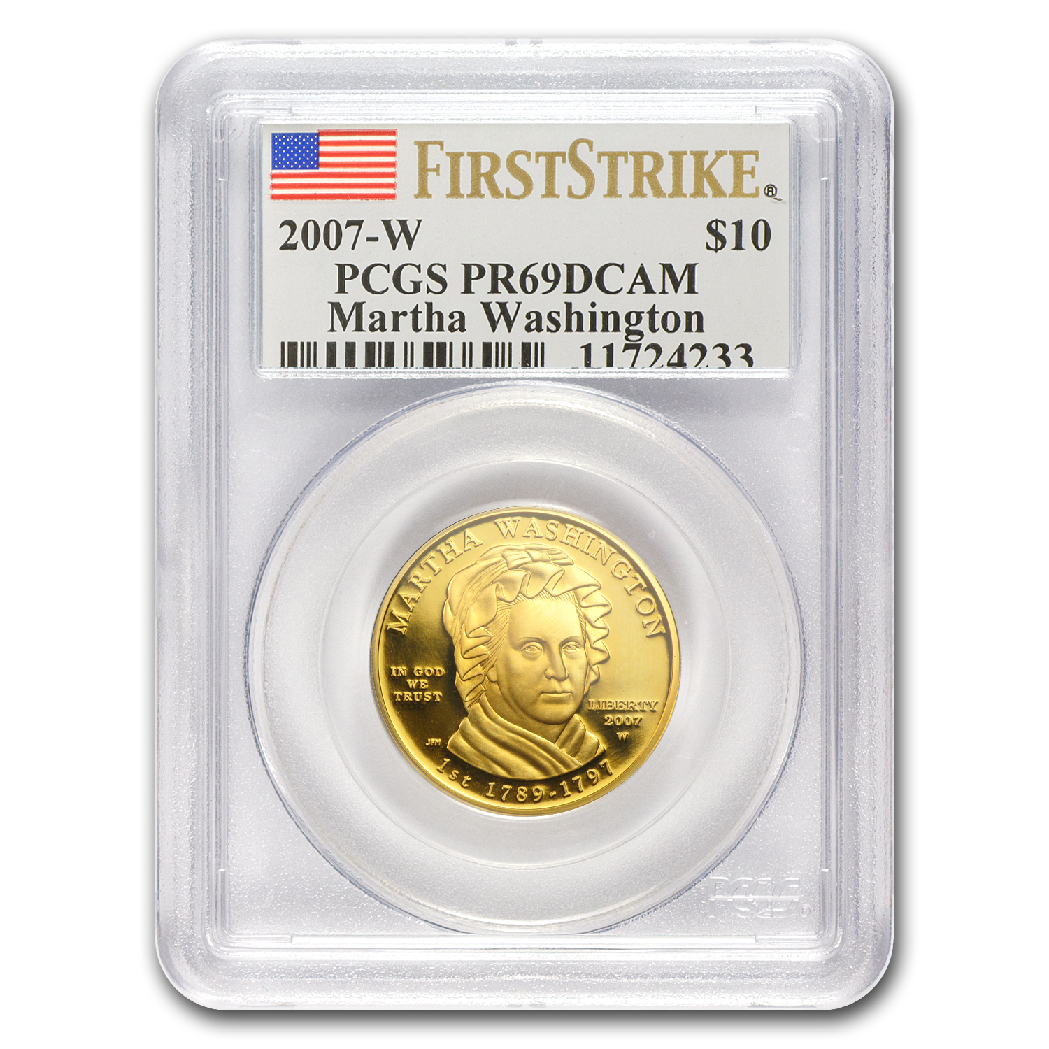 2007-W 1/2 oz Proof Gold Martha Washington PR-69 PCGS (FS)