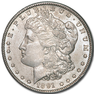1891-CC Morgan Dollar MS-60 Details (Very Lightly Cleaned)