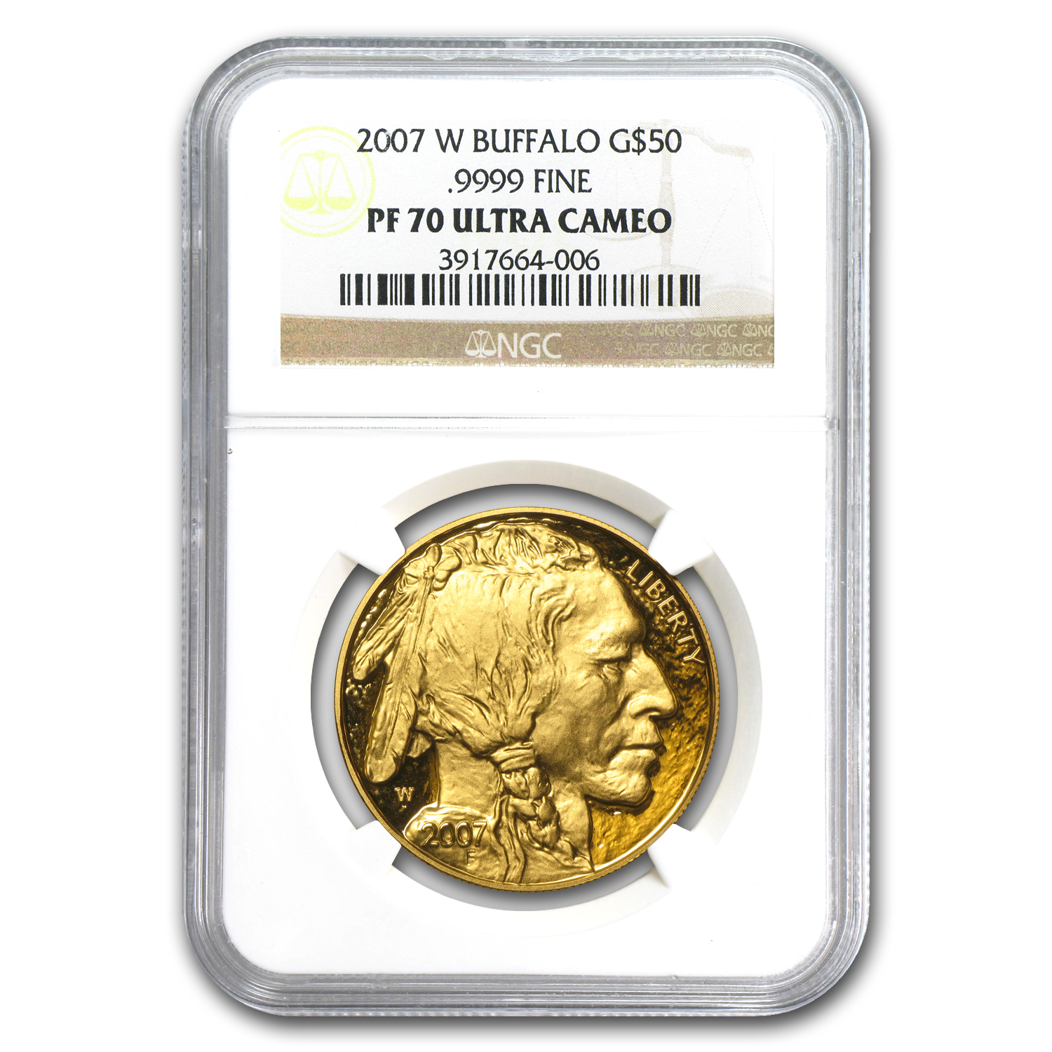 2007-W 1 oz Proof Gold Buffalo PF-70 NGC