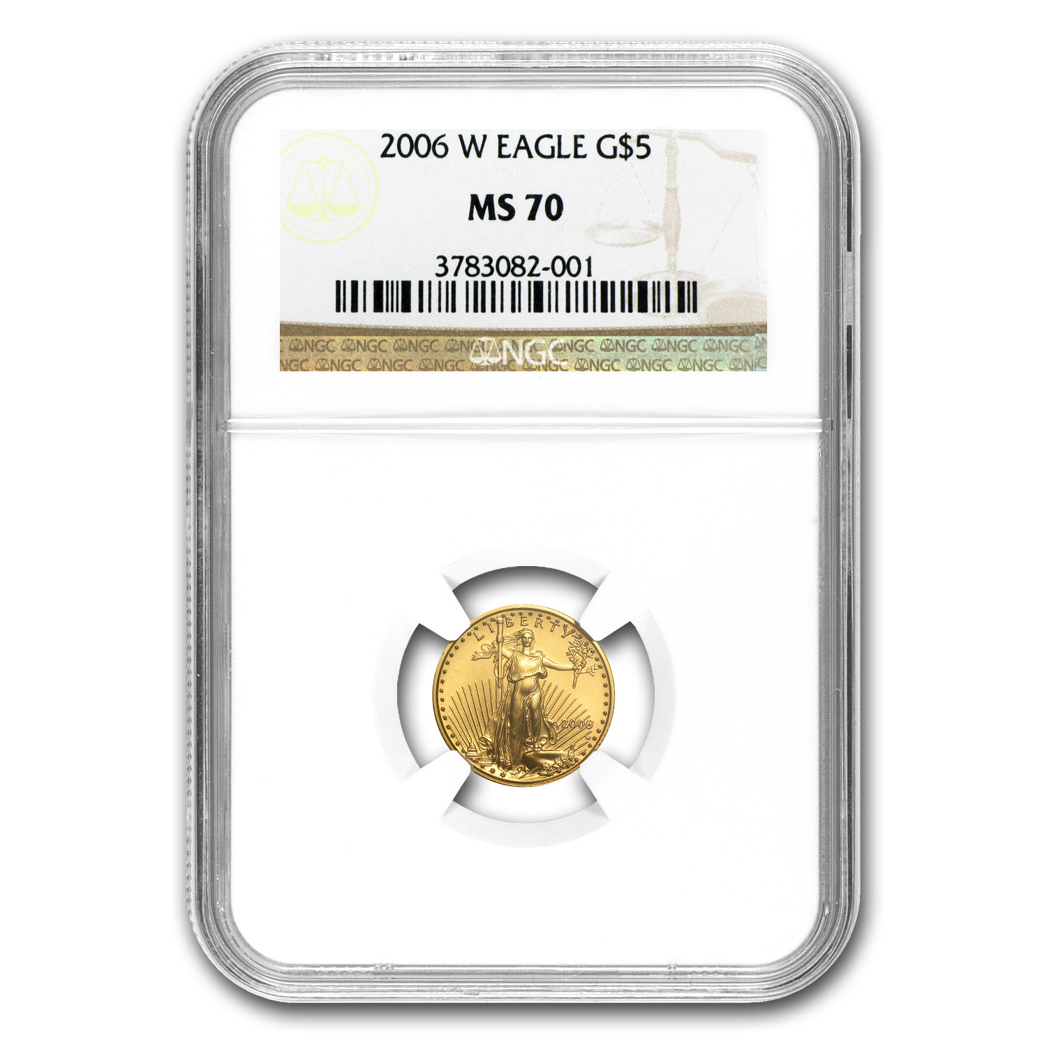 2006-W 1/10 oz Burnished Gold American Eagle MS-70 NGC