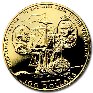 Cook Islands 1975 100 Dollar Gold Uncirculated