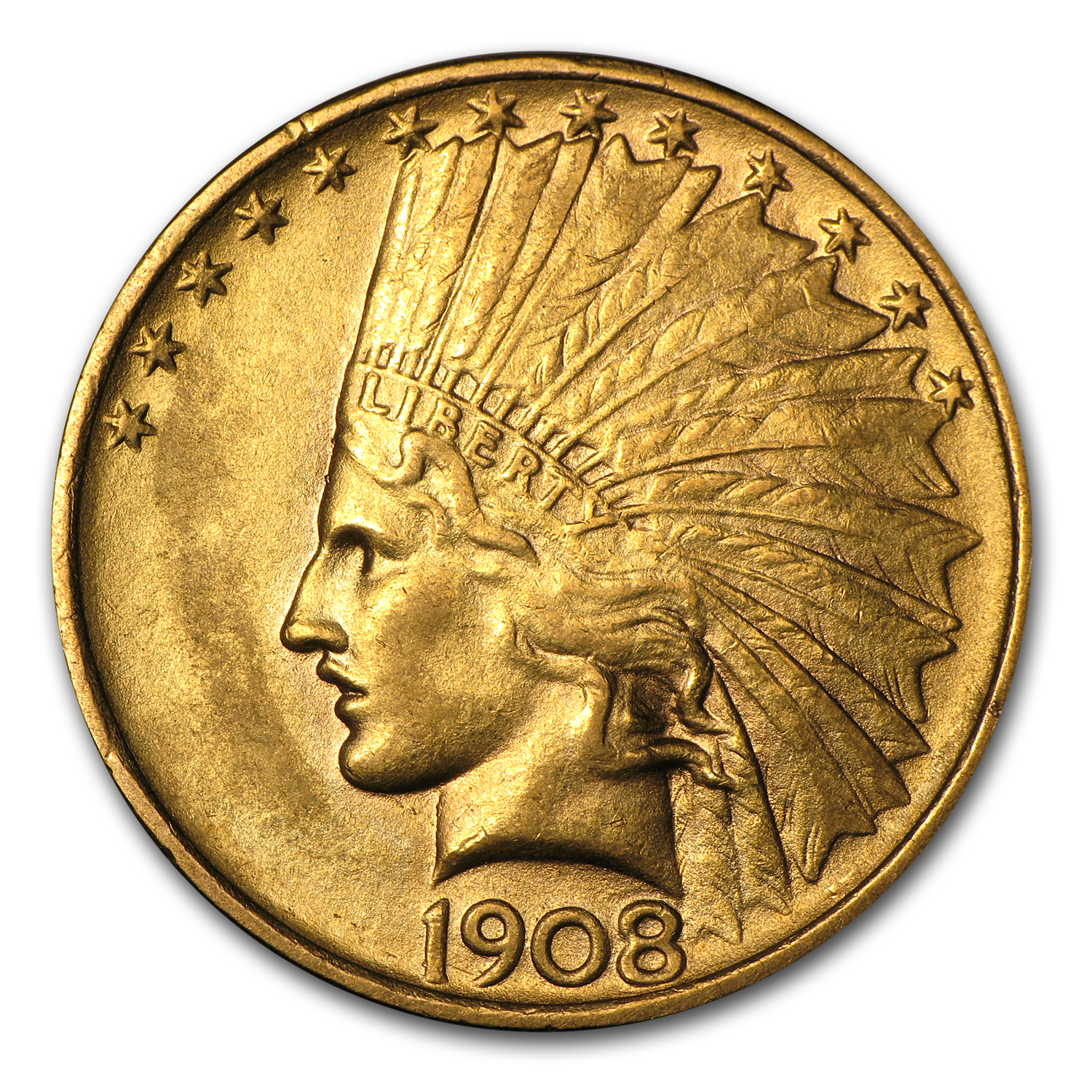 1908 $10 Indian Gold Eagle No Motto Almost Uncirculated