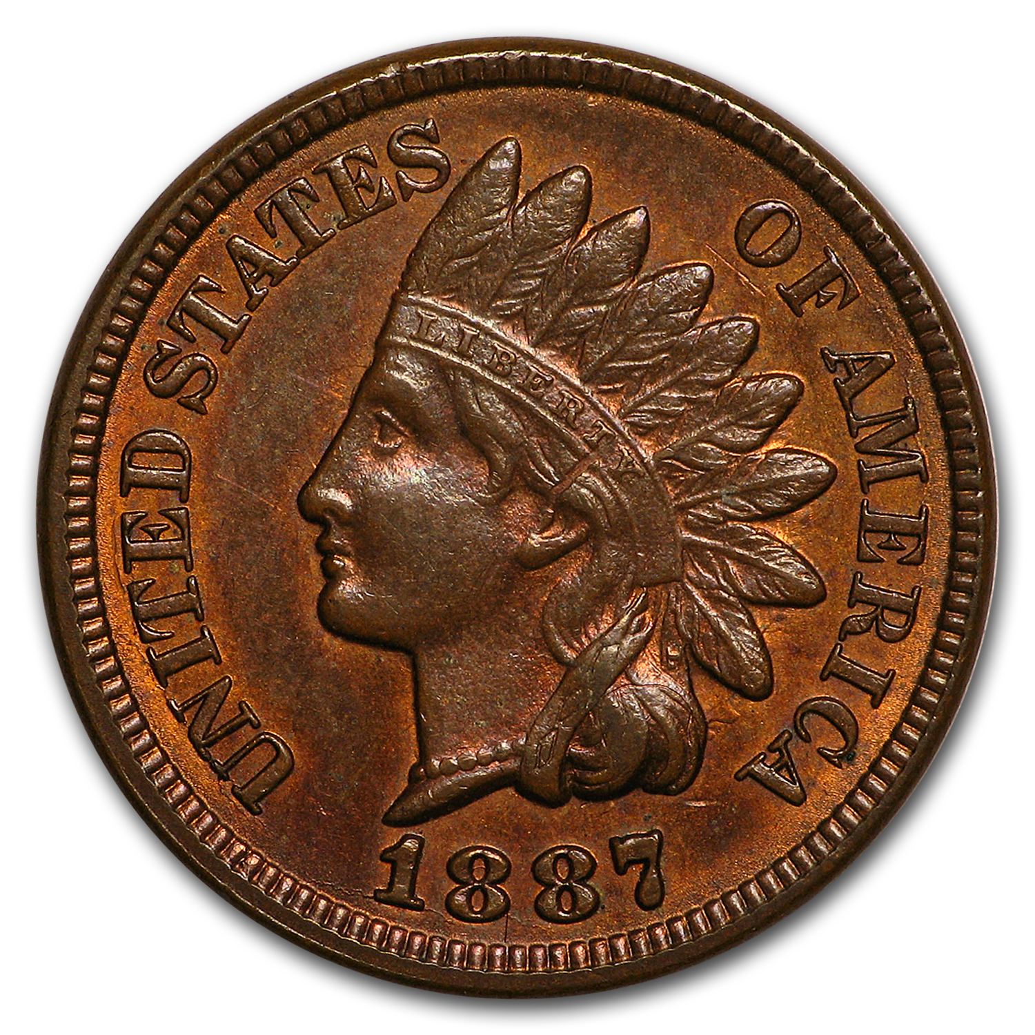 1887 Indian Head Cent AU