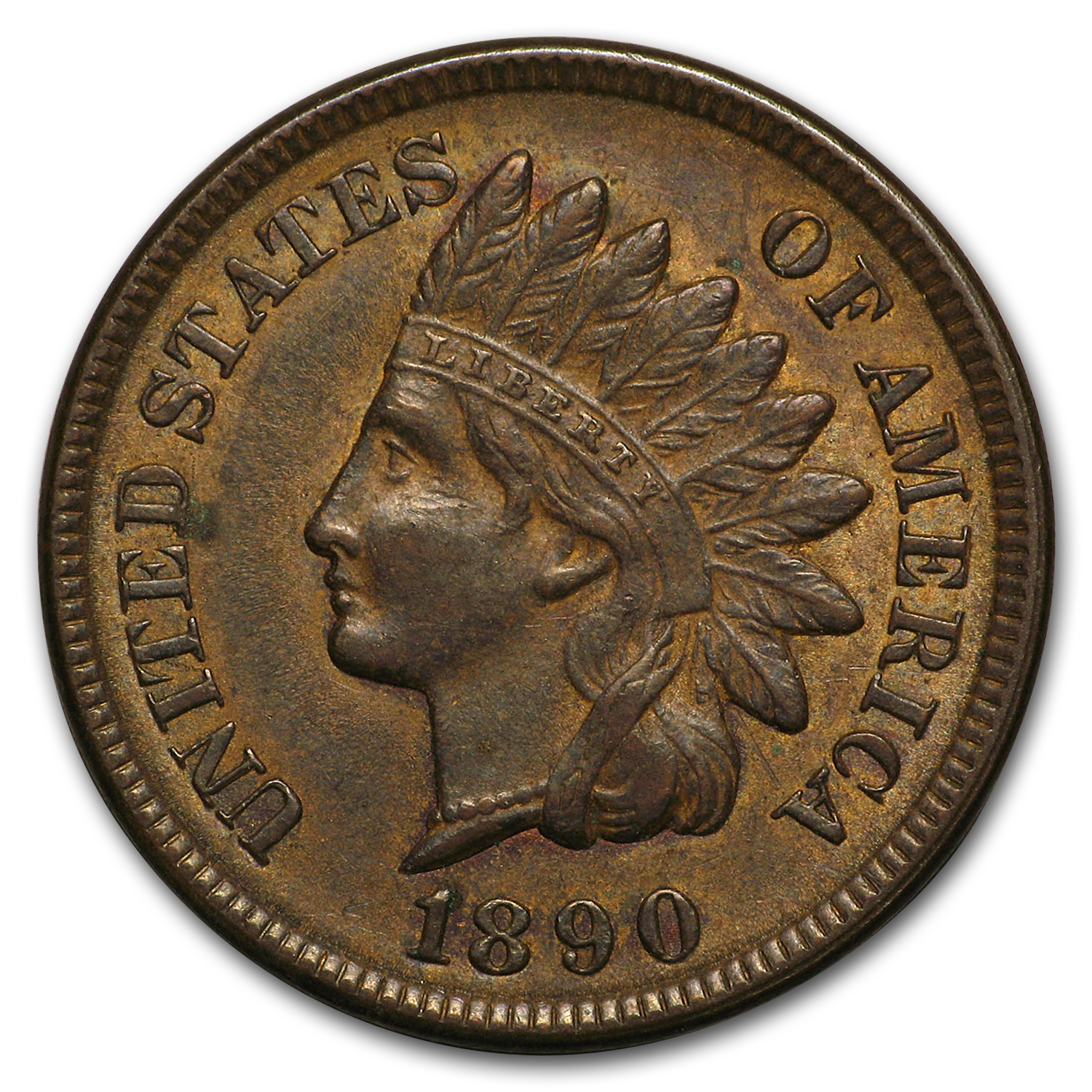 1890 Indian Head Cent AU