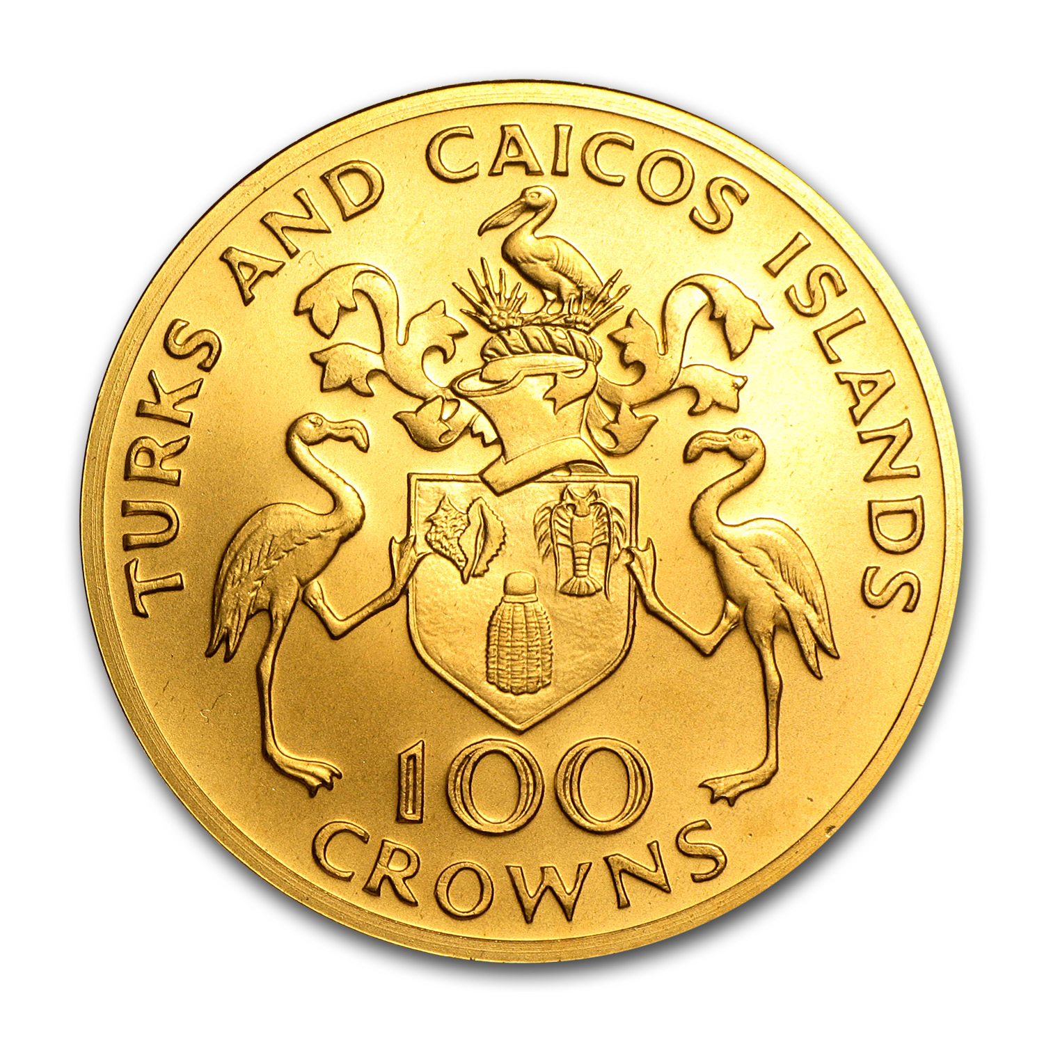 1974 Turks & Caicos Gold 100 Crowns BU/Proof