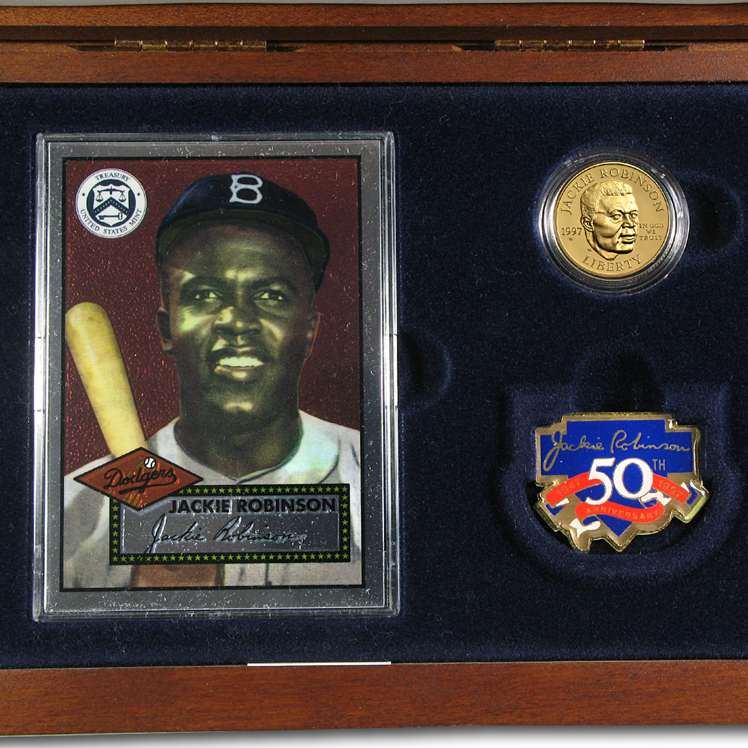 1997 4-Pc Gold $5 Commem Jackie Robinson Pf Set (Legacy, Box/COA)
