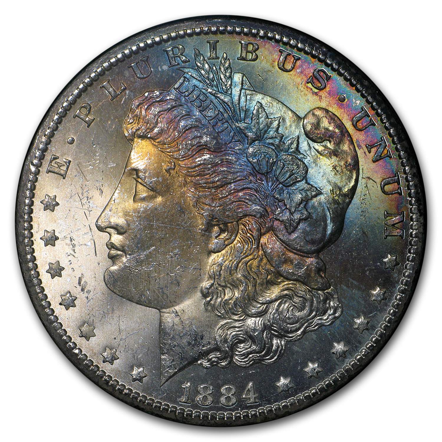 1884-CC Morgan Dollar MS-63* NGC (GSA, Nice Rainbow Toned)